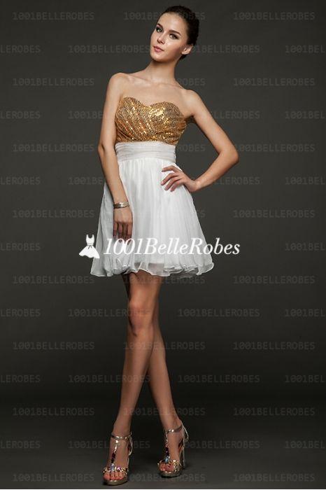 6ca2a4e240561 sexy robe de cocktail bustier en tissu pailleté et mousseline bicolore doré  et blanc
