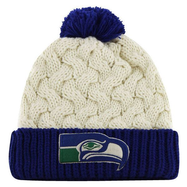 57dcc3b261d  47 Brand Seattle Seahawks Ladies Matterhorn Cuffed Beanie - White ( 24) ❤  liked on Polyvore featuring accessories