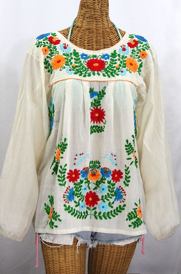 Free shipping national ethnic mexican embroidered blouse peasant blouse  pattern vintage blouse womens tops uk cotton