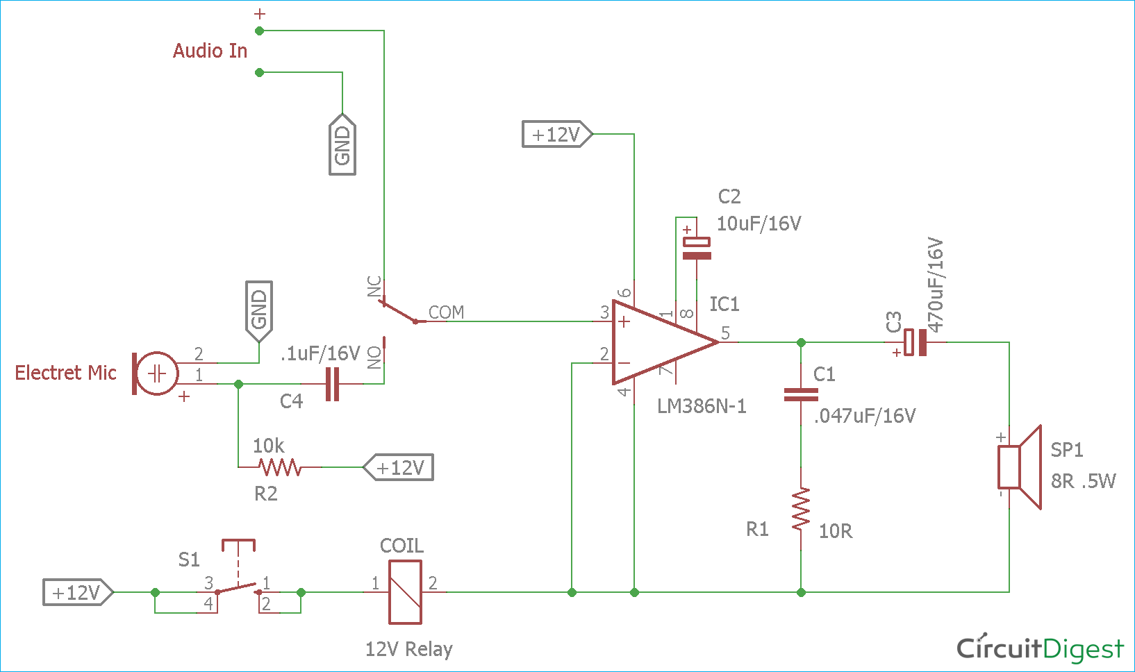 audio voice over circuit diagram using lm386 electronic circuit rh pinterest com Schematic Diagram Schematic Diagram