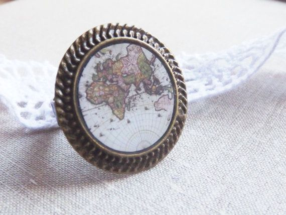 World Map Ring Antique World Map Jewelry Adjustable Ring Globetrotter Ring  Steampunk Adjustable World Map Gifts