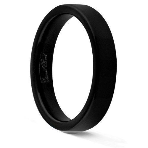 Bride - ENIGMA-4MM Black Tungsten Carbide Flat Wedding Band Ring (Size 4-15) Eternal Bond. $39.95