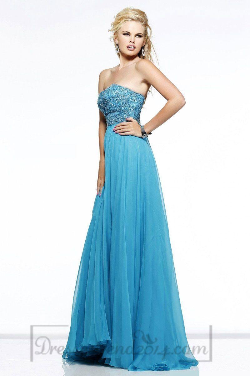 Long Chiffon A-line Strapless Zipper Natural Waist Prom Dress