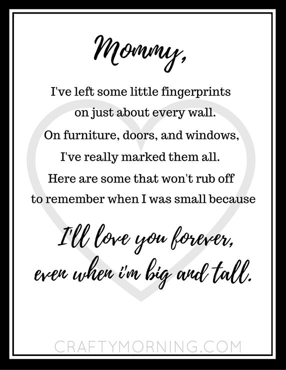 Free Mother S Day Fingerprint Poem Printable Mothers Day Poems