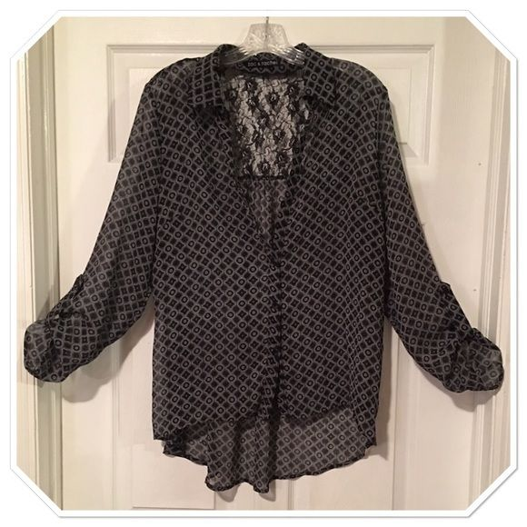Sheer & Lace Top Good used condition - missing the top 2 buttons hence the super low price Zac & Rachel Tops Button Down Shirts
