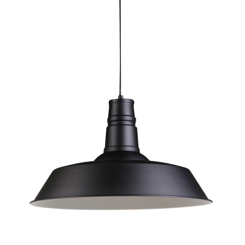 Lámpara de suspensión de estilo vintage, ideal para iluminar cualquier estancia con un estilo industrial inconfundible. Fabricada en acero al carbono de color negro. Disponible el mismo modelo con pantallas de menor diámetro. Esta lámpara funciona muy bien con nuestras bombillas de estilo vintage. Se puede utilizar también una bombilla LED.
