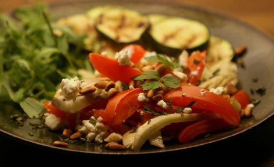 geroosterde venkel en tomaat met salie en feta