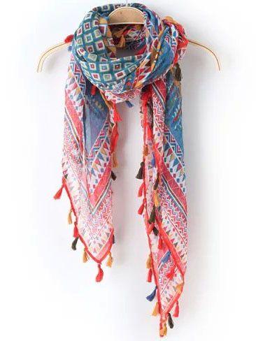 Multicolor Vintage Geometric Print Tassel Scarve #scarves