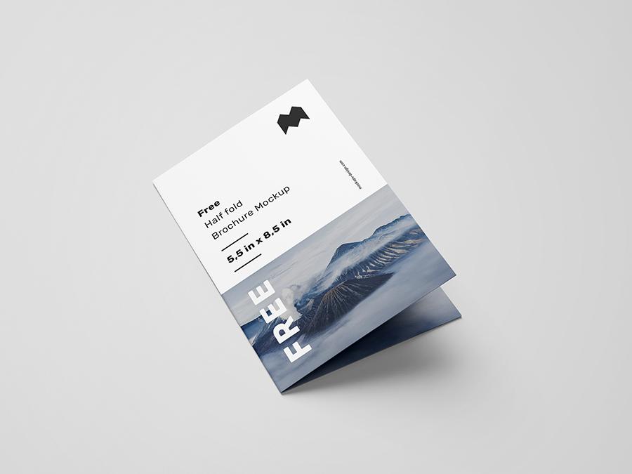 Free Us Half Fold Brochure Mockup Mockups Design Free Premium Mockups Brochures Mockups Brochure Mockup