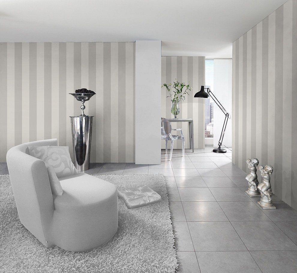 Modern luxury 3D nonwoven wallpaper stripes silver gray