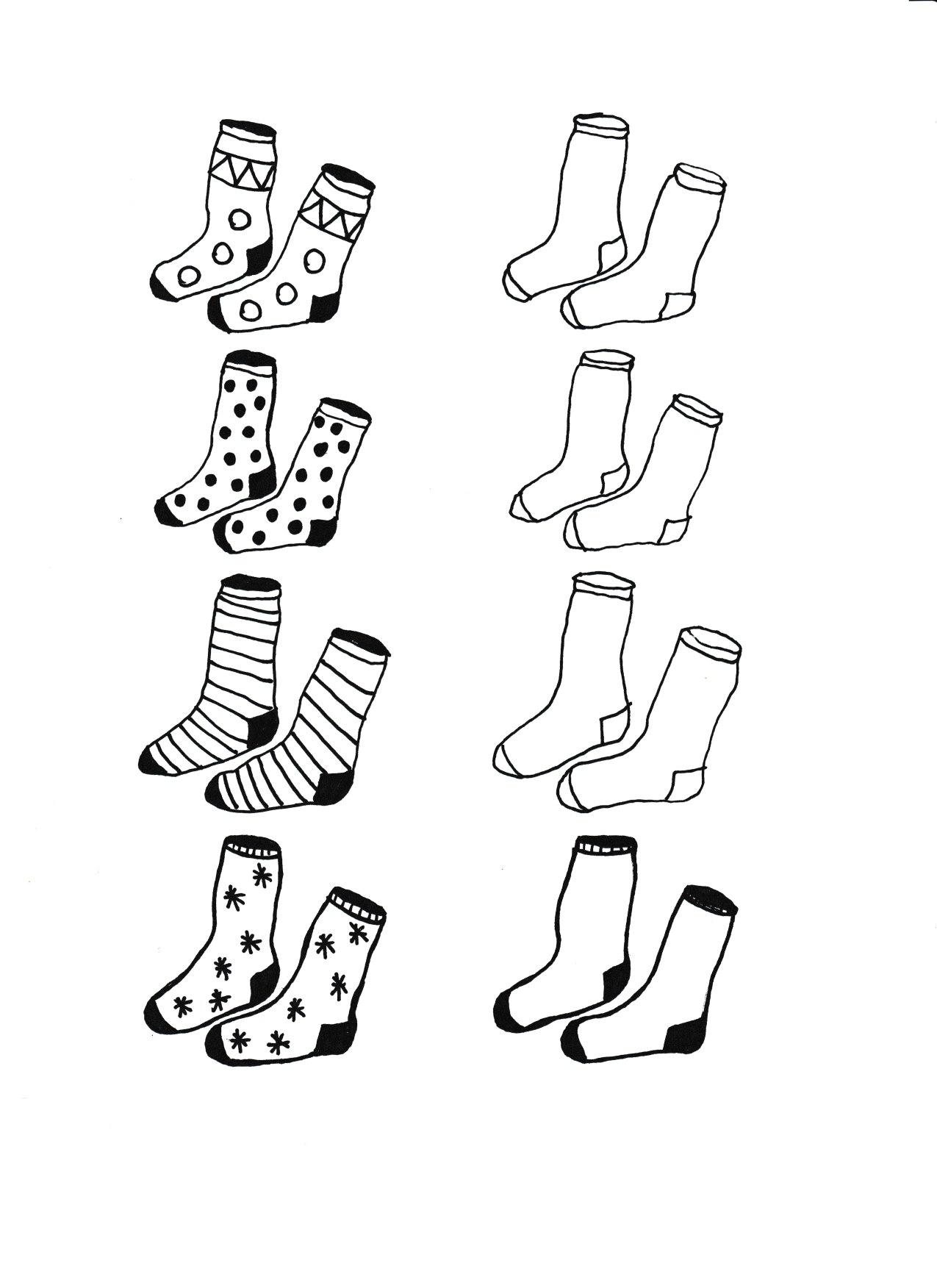 Narysuj Taka Sama Pare Skarpet Kolorowanka Grafomotoryka Edukacja Przedszkole Pliki Do