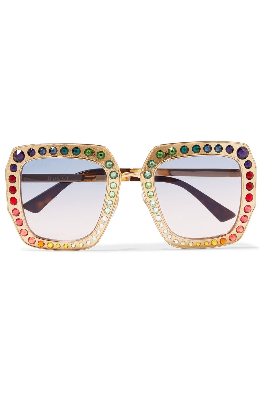ce6965a38a Gucci - Crystal-embellished square-frame gold-tone sunglasses ...