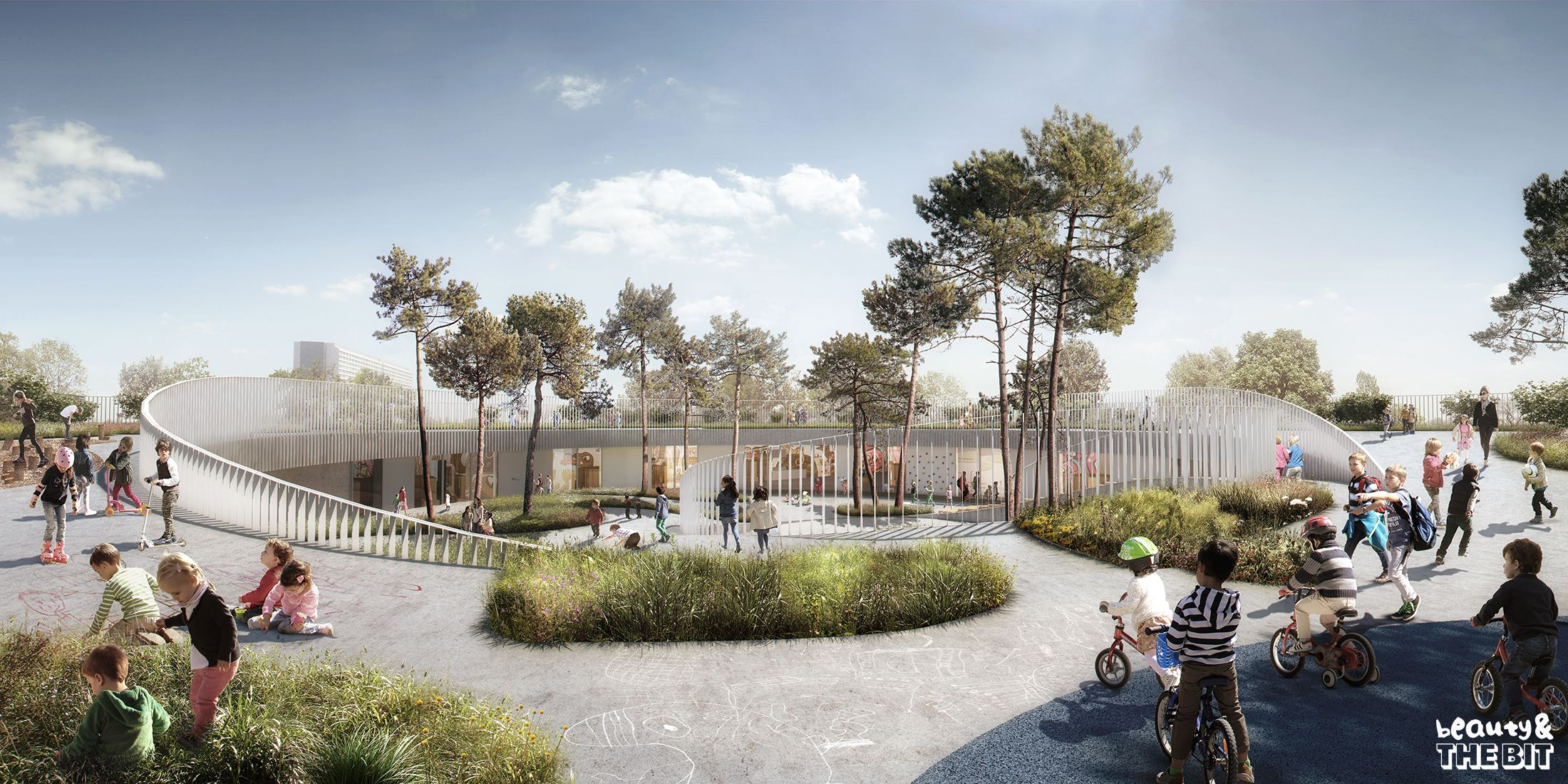 Avedore kindergarden competition denmark cobe denmark for Red landscape architects