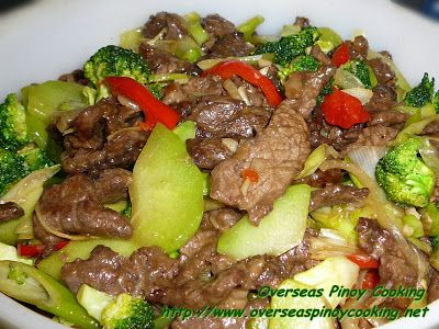 Beef With Broccoli And Choko Stirfry Overseas Pinoy Cooking Beef Recipes Broccoli Beef Beef Stir Fry Recipes