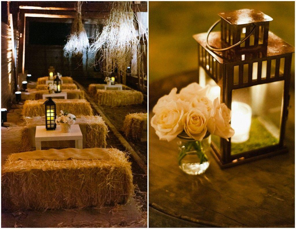 Elegant Wedding In A Barn Wedding Lanterns Hay Bales