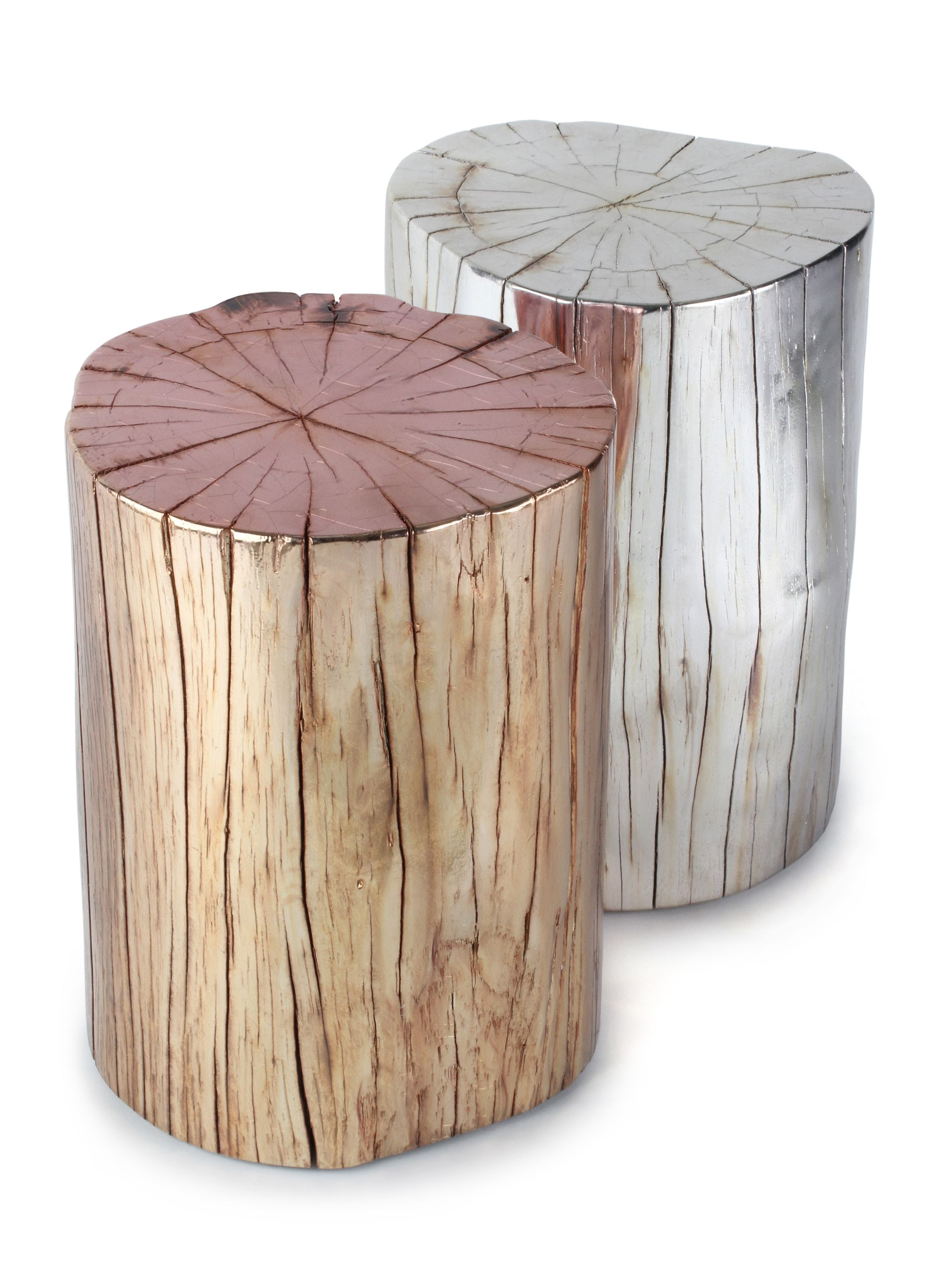 Metallic tree stump side table boho home pinterest for Stump furniture making