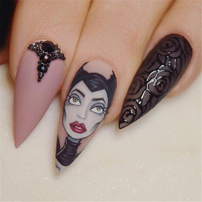 25 Disney Cutest Stiletto Nails Design Inspiration Stiletto Nails Designs Halloween Nails Nail Design Inspiration