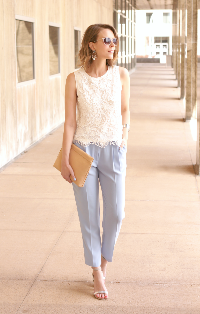 I've definitely been a sucker for all things pastel this season, so  naturally I fell in love with these gorgeous powder blue trousers.