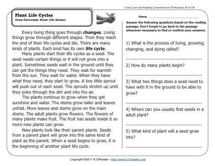 Worksheets Comprehension Worksheets Grade 4 plant life cycles comprehension and plants 2nd grade reading week 4 comprehension