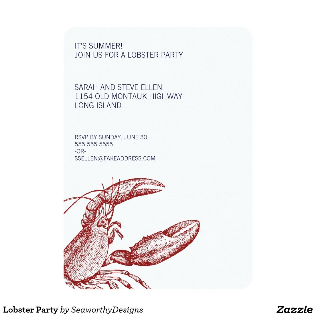 Lobster Party Invitation