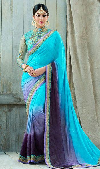 Sky Blue Color Silk Satin Jacquard Designer Wedding Saree