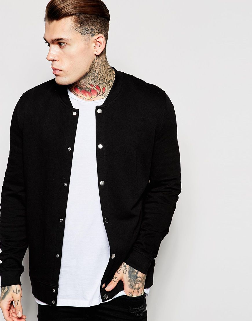 ASOS+Bomber+Jacket+In+Jersey+With+Snaps