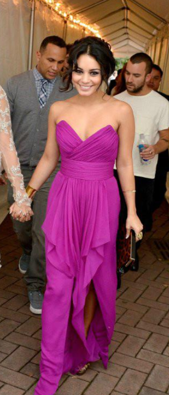 Free Shipping Pretty Vanessa Hudgens Fuchsia Pink Evening Dresses Summer Long Celebrity Dresses Evening Party Gowns Vestidos De Fiesta