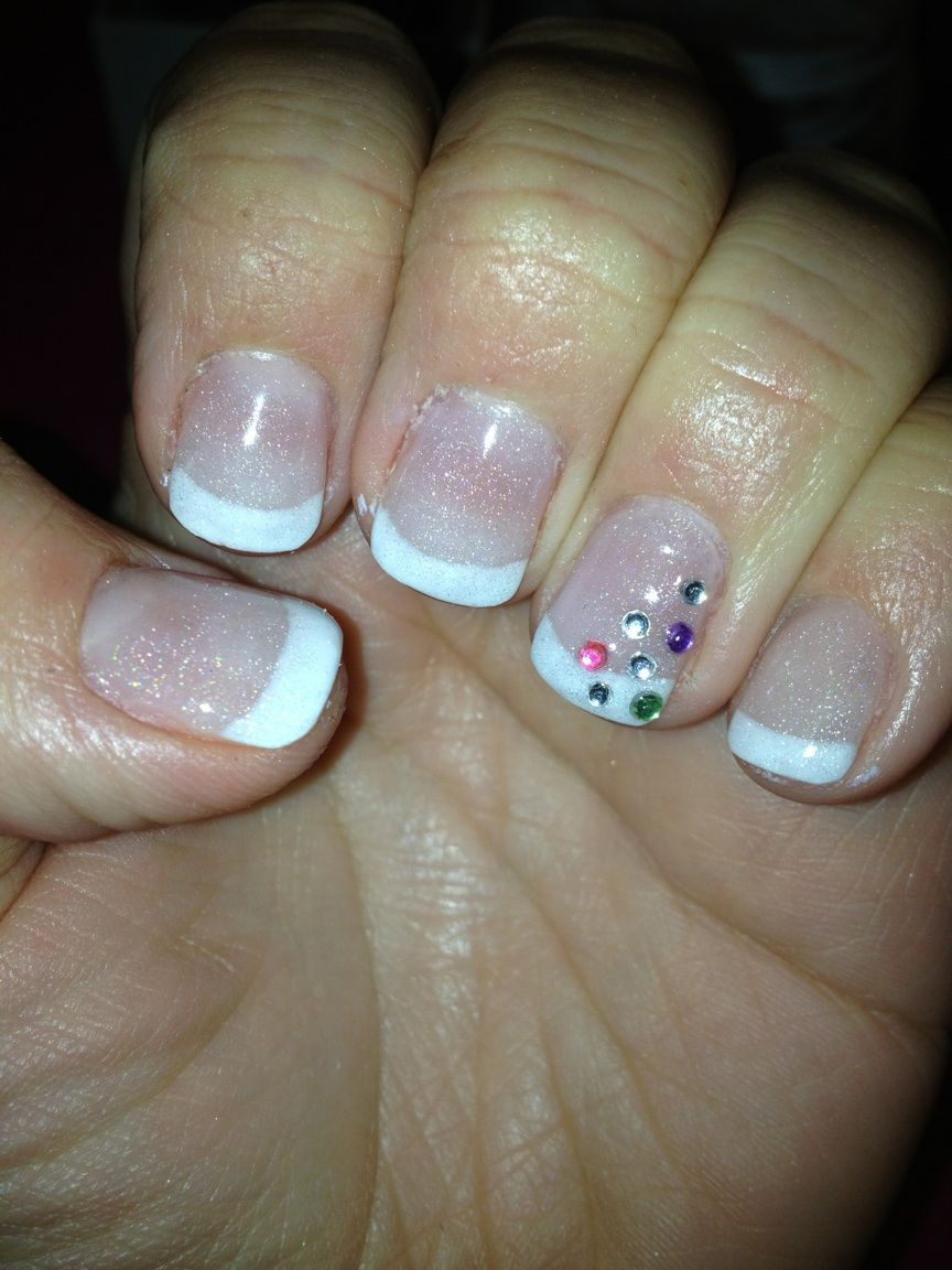 UV Gel Nails French Manicure with Gems £23 infills | Anything with ...
