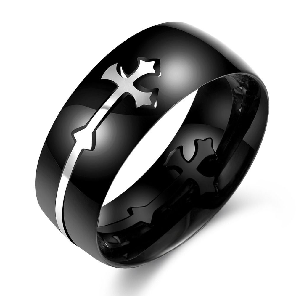 Titan Titanium dedo anular anillo Onyx negro Biker señores hombres plata geniales II