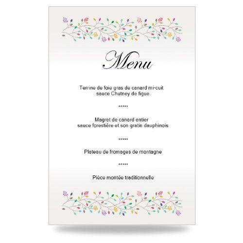 Idée Repas Mariage Simple Couleurs floral   Faire Part Moins Cher | Menu mariage, Idées de