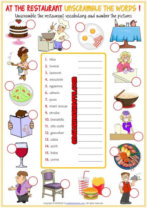 Restaurant Vocabulary ESL Unscramble The Words Worksheets Esl Vocabulary,  Vocabulary, Kids Worksheets Printables