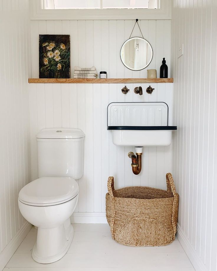 Pin By Karisa King On Bathroom Laundry Room White Washed Wood Paneling Wood Panel Walls Bathroom Farmhouse Style