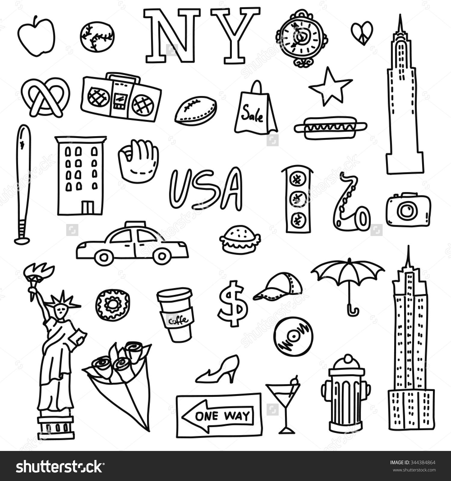 New York Doodle Line Set Hand Drawn Elements American