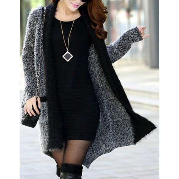 Fashionable Color Block Pockets Slimming Long Sleeve Cardigan For ...