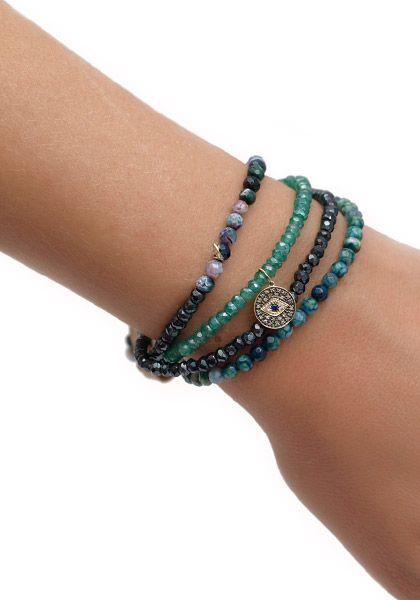 Sydney Evan Diamond Shire Evil Eye Wrap Bracelet
