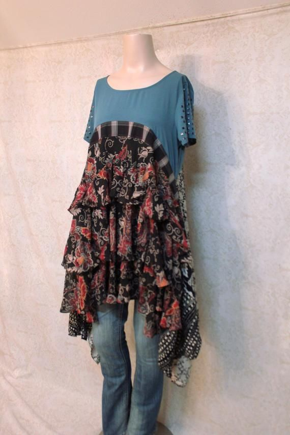 af77ff4fdef REVIVAL Women's Upcycled Boho Shirt, Urban Chic Hippie Country Bohemian  Junk Gypsy Style, Small to M