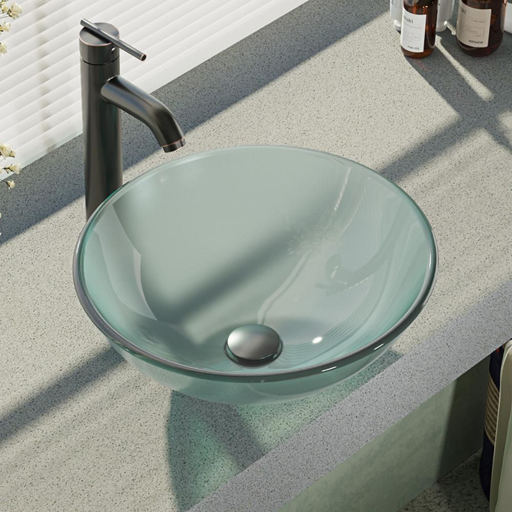 Rene Glass Vessel Sink In Celeste With R9 7001 Faucet And Pop Up