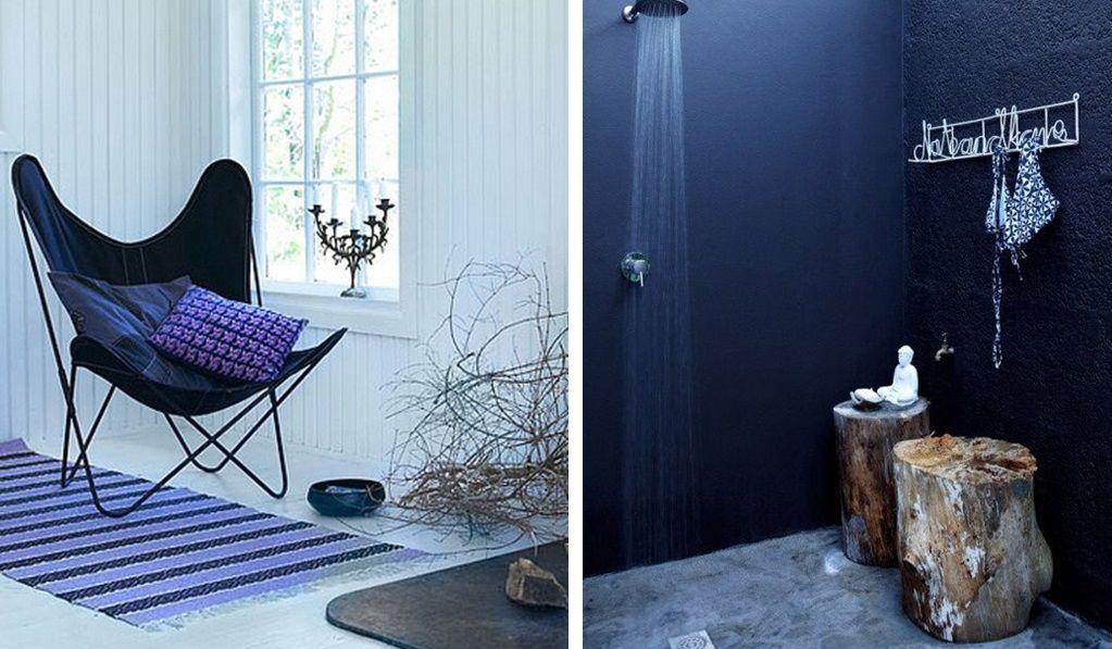 Salle de bain blanc et bleu marine : Idée déco avec bleu ...