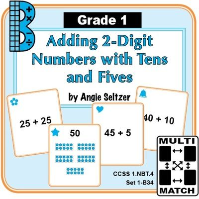 This set of printable cards will help students learn to add a one-digit number or a multiple of 10 to a 2-digit number (CCSS 1.NBT.4).