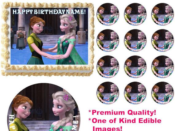 FROZEN FEVER Anna Elsa Holding Hands Edible Cake Topper Image Frosting Sheet All Sizes