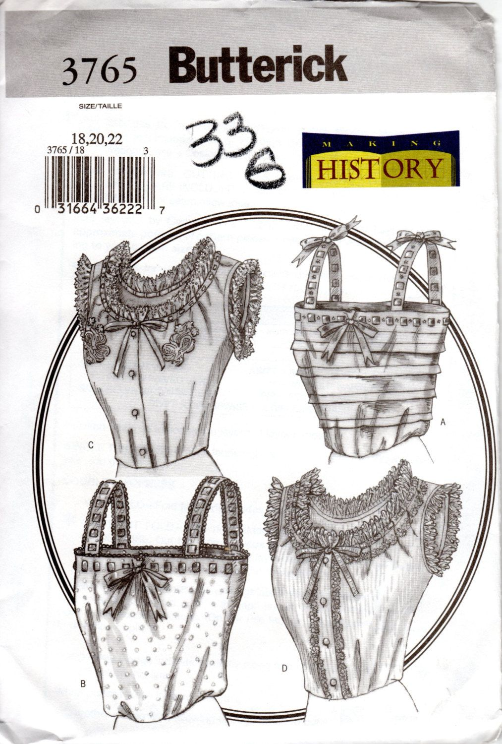 OOP Historical Pattern for Camisoles or Corset Covers - Butterick ...