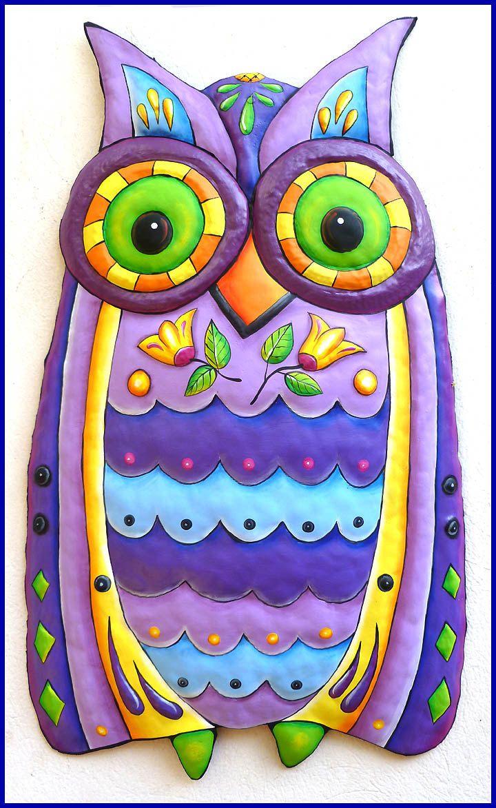 Painted Metal Owl Wall Hanging Purple Decor Whimsical Art