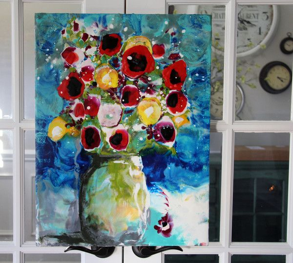 "ORIGINAL | ""Garden Poppies in Mason Jar"" | Donna Downey Studios Inc"