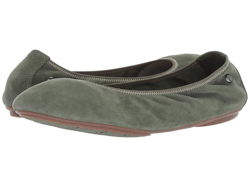 Hush Puppies Chaste Ballet Dark Olive Suede Women S Flat Shoes