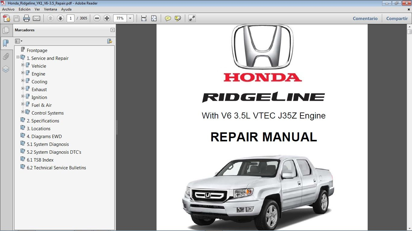 Honda Ridgeline 3 5 Workshop Repair Manual De Taller In 2021 Honda Ridgeline Repair Manuals Honda