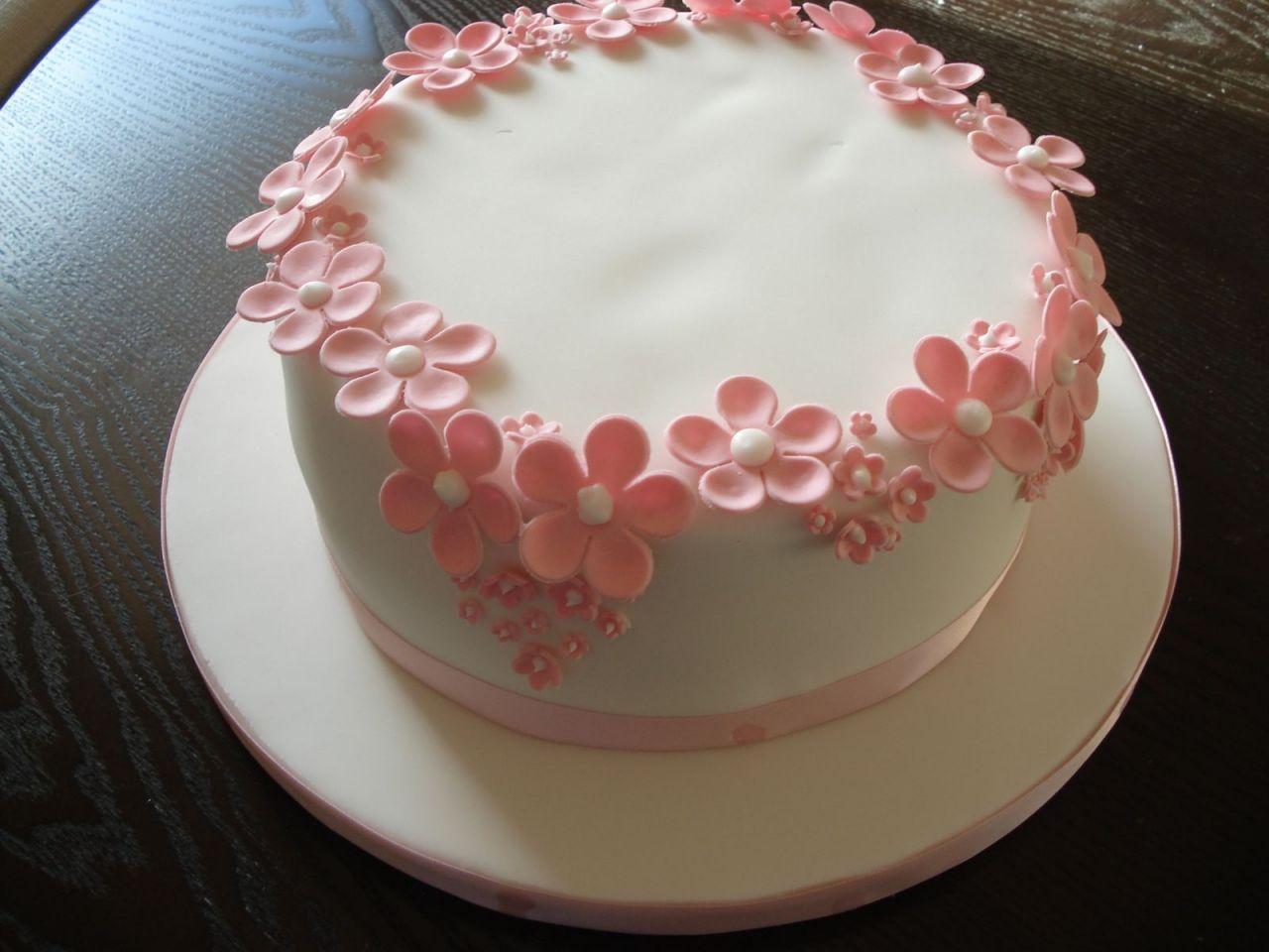 Girls Birthday Cake Ideas Pink Flowers Simple birthday
