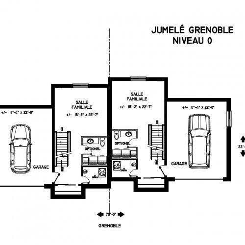 Jumelé à vendre à Ste-Foy (Québec) Plan de maison jumelée moderne