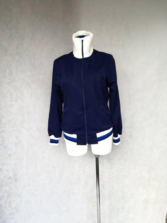 Navy Blue Cardigan, Zipped Sweater, Thrift Shop Jacket, Boho ...