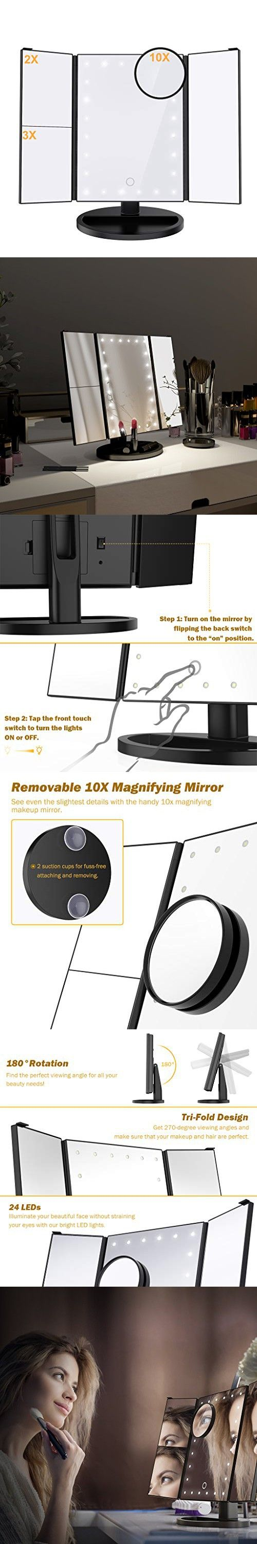 Ultimate Lighted Makeup Vanity Mirror Trifold Magnifying