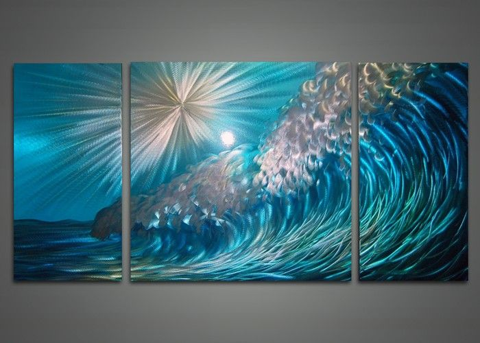 Wall Art Painting wave metal wall art painting 48x24in i had forgotten about the